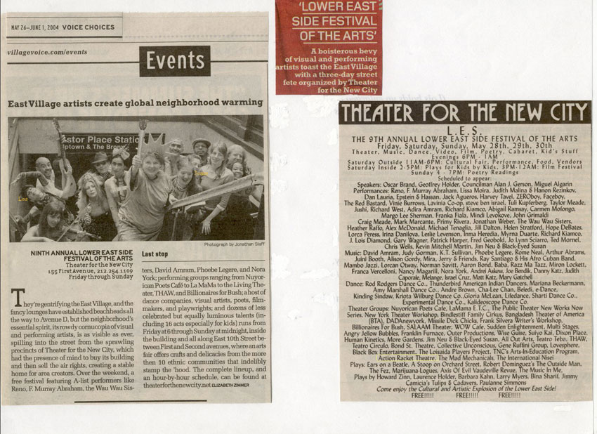 Action Racket Theatre: Lower East Side Festival—Village Voice 2004